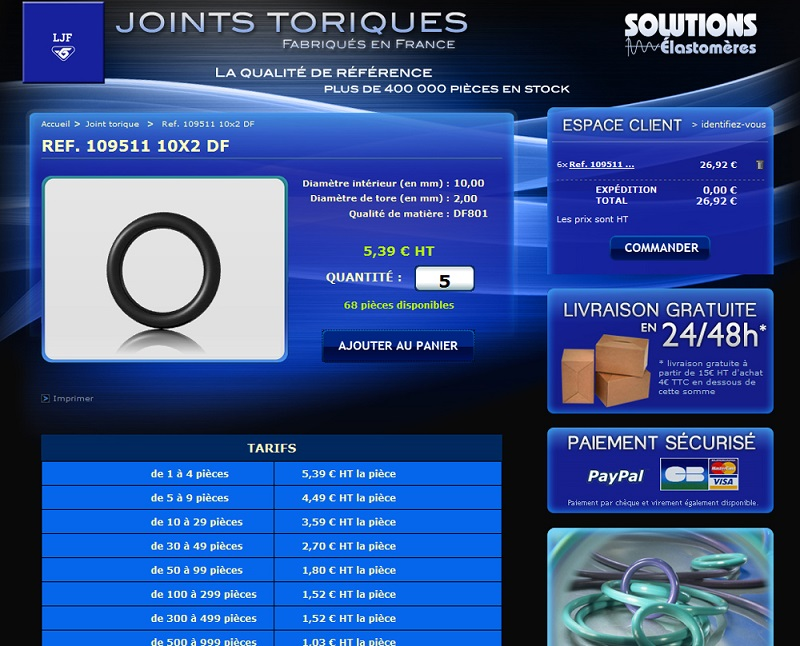 Site web vente joint torique